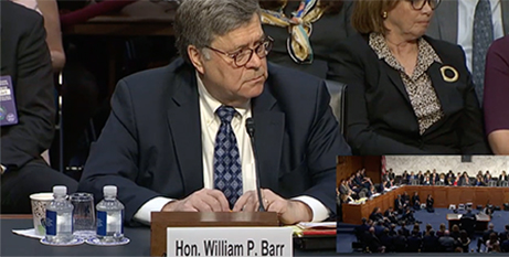 William Barr at the confirmation hearing on Tuesday (YouTube)
