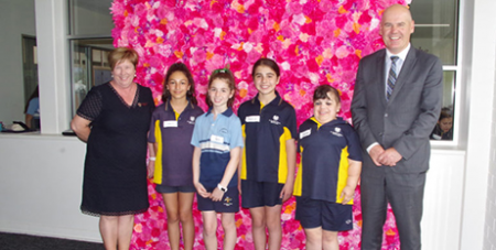 Mary MacKillop College principal Kath McGuigan and CESA director Neil McGoran with incoming Year 7 students at a transition day (The Southern Cross)