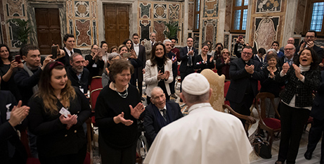 Members of Italy's Pro-Life Movement applaud Pope Francis (Vatican Media)