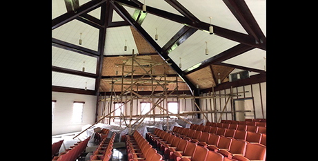 A church roof in American Samoa in need of repair 12 months after it was damaged by Cyclone Gita (Catholic Mission/Bishop Peter Brown)