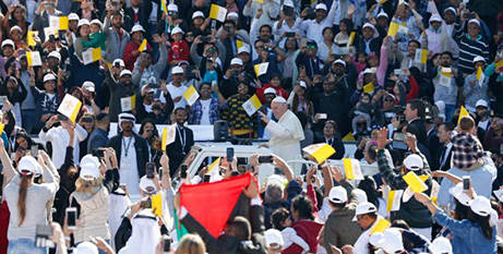 Pope Francis at Zayed Sports City Stadium in Abu Dhabi testerday (CNS/Paul Haring)