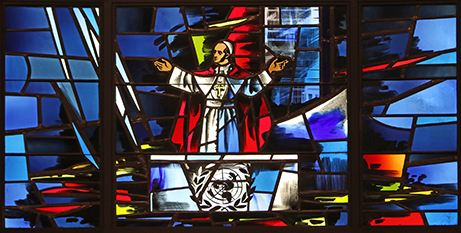 A stained glass window depicting Pope Paul VI at the UN, New York (CNS)