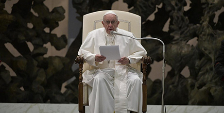 Pope Francis at the general audience at the Vatican yesterday (Vatican Media)