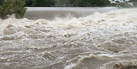 Flooding in Black Weir as Ross River Dam opened its flood gates fully on Sunday (Townsville Diocese/Neil Helmore)