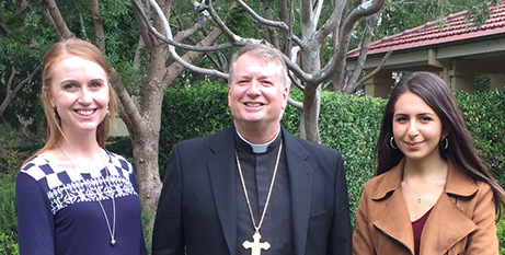 Ashleigh Green, Archbishop Anthony Fisher OP and Angela Markas (ACBC)