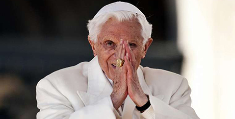 Pope Benedict XVI at his final general audience, in 2013 (Mazur)
