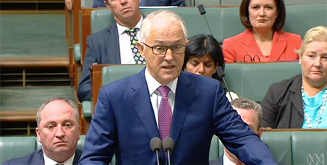 Malcolm Turnbull in Parliament yesterday (ABC News)