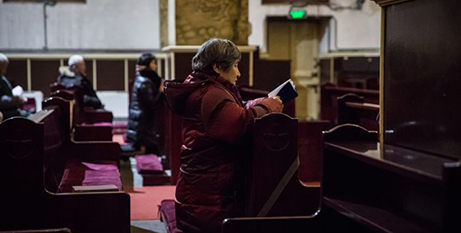 A woman prays in the Cathedral of the Immaculate Conception, Beijing (CNS/Roman Pilipey)