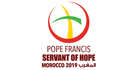 The official logo for the papal trip to Morocco features a cross and a crescent moon as a sign of Catholic-Muslim dialogue (CNS/Vatican Media)