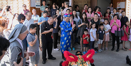 Bishop Vincent Long OFM Conv. at the 2019 Lunar New Year celebrations in North Parramatta (Mary Brazell/Parramatta Diocese)