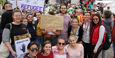 Catholic youth supporting refugees at a Justice for Refugees rally at South Australia's Parliament House last year (The Southern Cross)