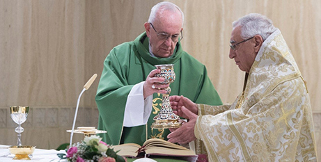 Pope Francis and Patriarch Absi yesterday (Vatican News)