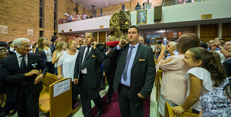 The relic of St Maroun is processed into the Maronite cathedral (Patrick Lee)