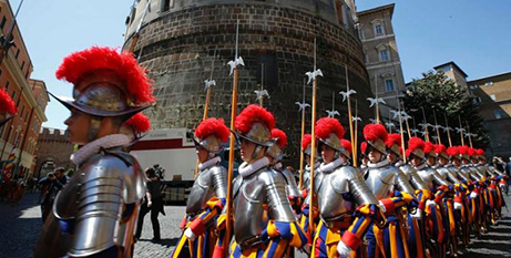 Swiss Guards march outside the Vatican bank, 2014 (CNS/Tony Gentile, Reuters)