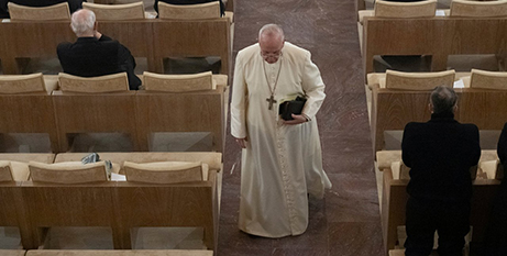 Pope Francis during the Lenten retreat for the Roman Curia in Ariccia (CNS/Vatican Media, via Reuters)