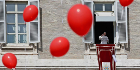Pope Francis delivers his Angelus address on Sunday (CNS/Max Rossi, Reuters)