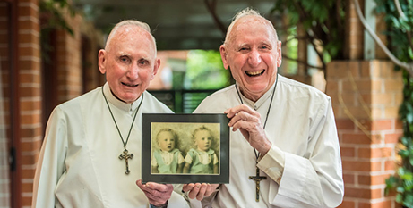 Brothers Frs Patrick (left) and John ONeill CSsR (The Catholic Weekly/Giovanni Portelli)