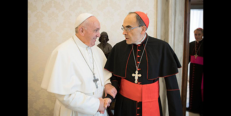 Pope Francis with Cardinal Philippe Barbarin yesterday (CNS/Vatican Media)
