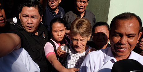 Sr Patricia Fox leaves the Bureau of Immigration yesterday (CBCP News)