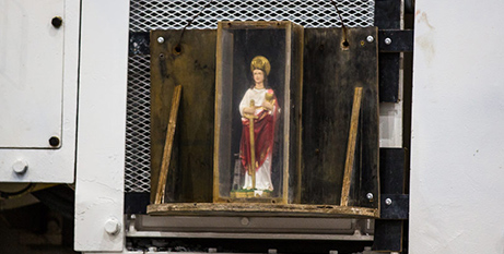 The St Barbara statue mounted on the side of the roadheader machine (Anthony Milic)