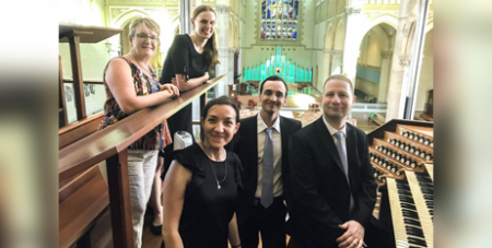 Notre Dame musicians Johann Vexo and Damien Rivière stand with Jacinta Jakovcevic (front left) and choir members during their recent visit to Perth (The eRecord/Jacinta Jakovcevic)