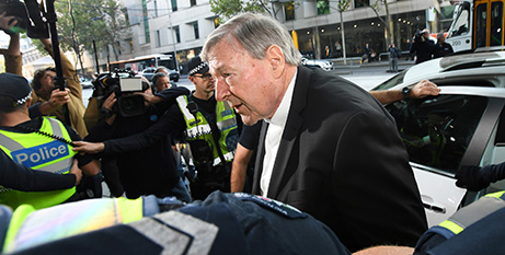 Cardinal George Pell arrives at the Melbourne Magistrates Court on May 1 (CNS James Ross, Reuters)
