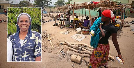 Sr Anna Abba (inset) and a camp in Benue, Nigeria, the state where the attack occurred (CNS/Sale Diocese)