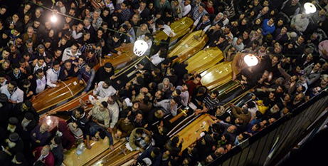 A funeral after a bomb attack in Tanta, Egypt, last month (CNS photo/Mohamed Hossam, EPA)