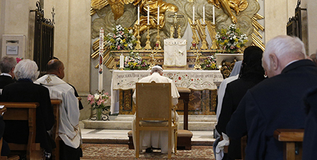 Pope Francis recites the Rosary, May 1 (CNS/Paul Haring)
