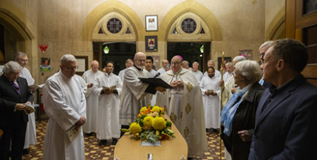 The Vigil liturgy for Archbishop Faulkner, Sunday (The Southern Cross/Ben McMahon)