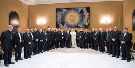 Pope Francis and the Chilean bishops yesterday (Vatican Media)
