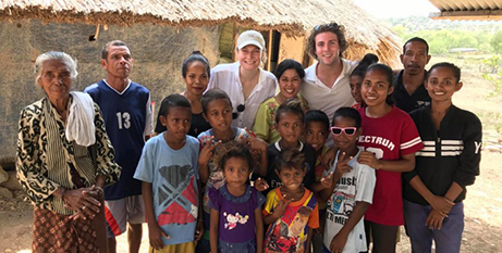 Aquinas College residents Jayden Byrne and Eliza Boulton in East Timor (The Southern Cross)