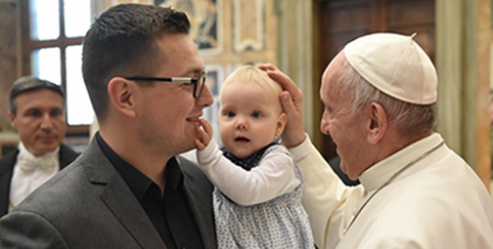 Pope Francis greets conference participants at the Vatican on Saturday (Vatican Media)