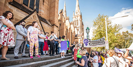 Pro-abortion protestors outside St Mary's Cathedral, March 2017 (Sydney Archdiocese)