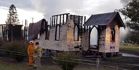 The charred remains or St Paul's Church, Glenreagh (NSW RFS)