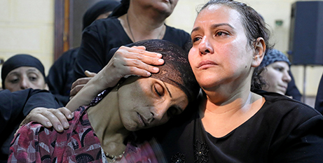 Coptic Christians at a funeral for in Egypt in May (CNS/Mohamed Abd El Ghany)