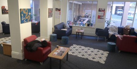 Staff area by day and welcoming cafe on weekend evenings (MelbourneCatholic)