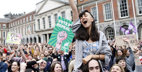 Yes supporters celebrate the Irish abortion referendum result last month (Crux/Peter Morrison, AP)