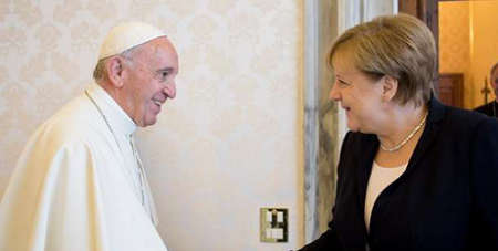 Pope Francis and Angela Merkel (CNA/LOsservatore Romano)