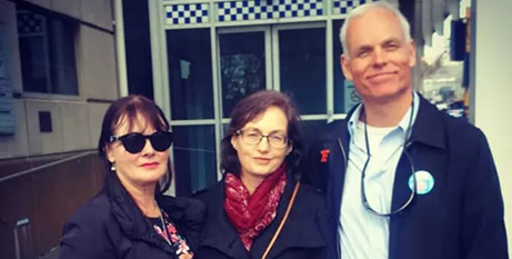 Kathleen Clubb (centre) with supporters on the day she was arrested in 2016 (Instagram/KathyClubb)