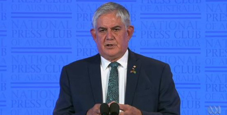 Minister for Indigenous Australians Ken Wyatt at the National Press Club yesterday (ABC News/screenshot)