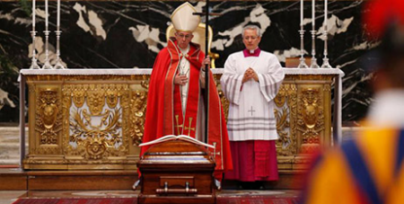 Pope Francis at the funeral of Cardinal Jean-Louis Tauran (CNS/Paul Haring)