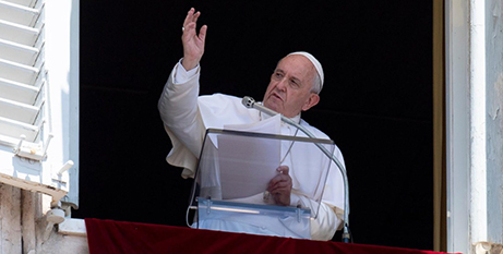 Pope Francis during the Angelus address yesterday (Vatican Media)