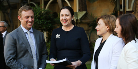 Annastacia Palaszczuk (second from left) with ministers at the announcement yesterday (Twitter/AnnastaciaMP)