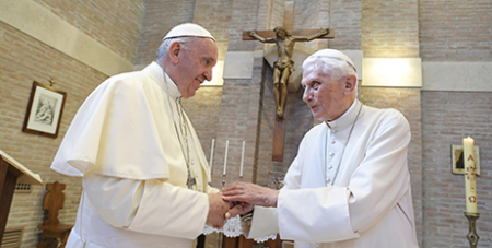Pope Francis and Pope Emeritus Benedict XVI, the first pope to resign in 700 years (CNS)