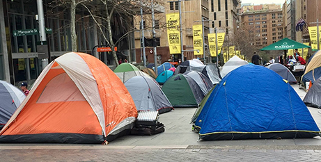 The tent city in Martin Place, Sydney, July 2017 (Facebook/Bill Crews)