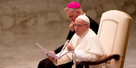 Pope Francis at the general audience in the Pope Paul VI Hall at the Vatican yesterday (CNA/Daniel Ibanez)