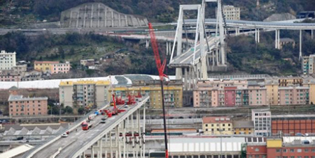 The Pope was commemorating the first anniversary of the collapse of Genoa