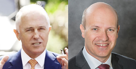 Malcolm Turnbull (left) and Dr Stephen Parnis (Facebook/HealthPages Wiki)