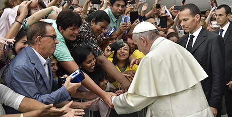 Pope Francis meets pilgrims at the general audience yesterday (Vatican Media)